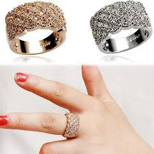 girls rings style images Luxury korean style full embedded artificial sparkling female big jpg