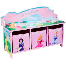 Bedroom Bench With Back Disney Princess Toy Bench With Back And 3 Bins Walmart Com