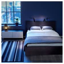Ikea Bedroom Ideas by Ikea Bedrom With Coolest Dark Liner Rug And And Wooden Brown Bed
