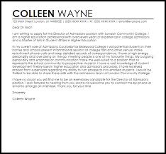 director of admissions cover letter sample livecareer