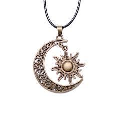 crescent moon and sun charm pendant lovepeaceboho