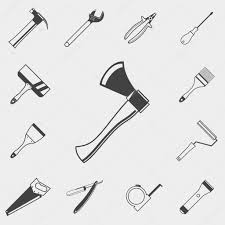 set of construction tools monochrome icons hammer spanner
