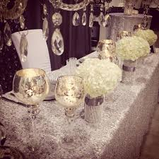 Wedding Head Table Decorations by Crystal Silver Bling White Decor For Head Table U0026 Cake Table