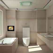bathroom tv ideas sleek modern bathroom with neutral color scheme and small lcd tv in