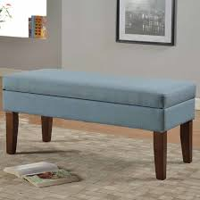 Padded Storage Bench Bedding Upholstered Storage Bench Decorative Solid Wood Legs
