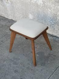 small vanity stool with light grey seat sunbeam vintage