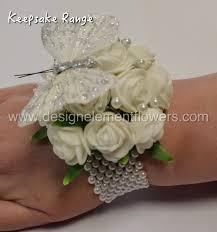 keepsake range white and butterfly wrist corsage design