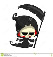 Halloween Skeleton Clip Art Cute Cartoon Grim Reaper With Scythe Isolated On White Cute