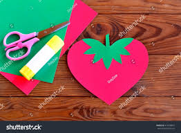 paper strawberry paper sheets scissors glue stock photo 414433819