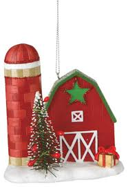 barn tree ornament farm silo country festive