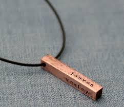 mens personalized necklace valentines gift for him sted mens necklace rustic