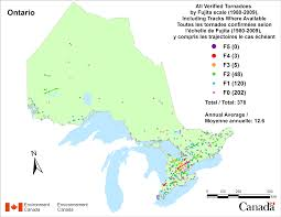 French Canada Map by Canadian National Tornado Database Verified Events 1980 2009