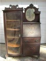 Secretary Desk Bookcase Cost To Ship Antique Bookcase Hood Secretary Desk Cabinet Mi
