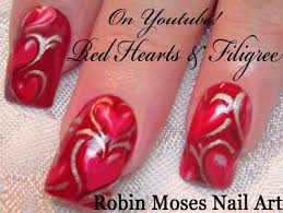 valentine u0027s day nail art tutorial red heart nails with filigree