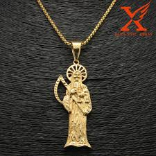 black charm necklace images 24 quot 3mm black plated holy saint death santa muerte skull pendant jpg