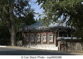 wooden log cabin log cabin in tarusa town wooden house log cabin in stock