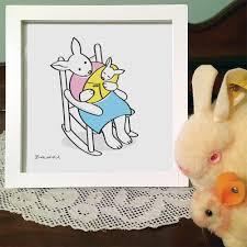 momma bunny rocking baby framed art print home decor baby new