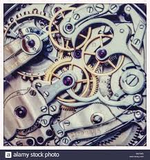 close up view of the movement of a pocket watch stock photo