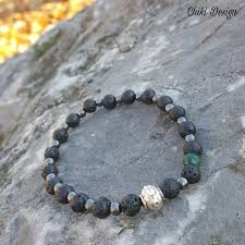 natural stone beaded bracelet images Lava hematite jade naturalstone beads with silver plated charm jpg