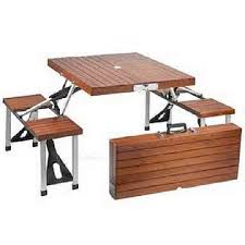 traveling wooden foolding outdoor picnic table design with metal