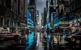 new york city street rain city cityscape motion blur car