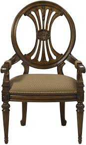 Traditional Accent Traditional Antique Style Dining Arm Chair With Coffee Colored