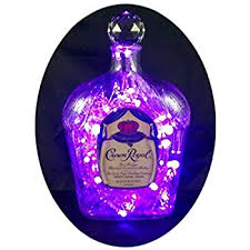 Crystal Comfort Liqueur Upcycled Crown Royal Mood Therapy Liquor Bottle Light W 100 Purple
