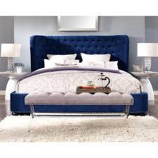 King Platform Bed Frame With Headboard Finley Blue Velvet Bed Luxurious Velvet Furniture Pinterest