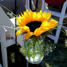 Mason Jar Vases Wedding Sunflower In Hanging Mason Jar Vase Weddings Pinterest