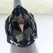 swarovski rings black images Killer black diamond tear drop swarovski crystal ring jpeg