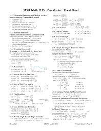 spsu math 1113 precalculus cheat sheet pdf pdf higher ed
