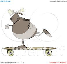 clipart of a cartoon moose skateboarding royalty free