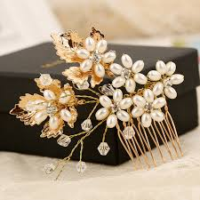 bridal hair comb wedding pearl hair comb gold leaf flower combs