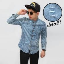 Baju Levis Biru jual kemeja baju pria denim levis biru cerah import murah