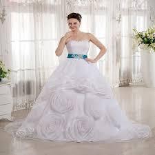 2015 white and blue belt princess muslimah wedding dress strapless