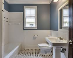 traditional bathroom with built in bookshelf crown molding