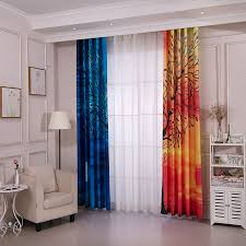 Orange And Blue Curtains Blue And Orange Dreamy Decorative Room Darkening Curtains
