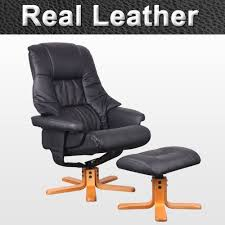 Swivel Reclining Armchair Real Leather Swivel Recliner Chair W Foot Stool Armchair Home