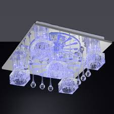 interior led ceiling light fixtures square with artistic crystals