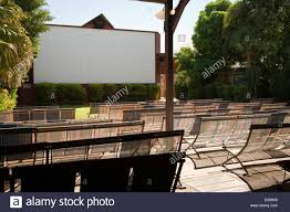 seating and screen at sun picture gardens outdoor movie theatre