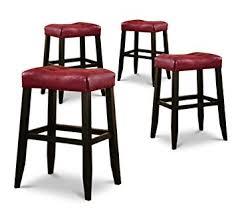 cushioned bar stool amazon com 4 29 red cushion saddle back black finish bar stools