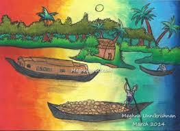 kerala backwater scenery painting