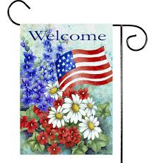 Red Flag White Flower Amazon Com Toland Patriotic Welcome Decorative America Red