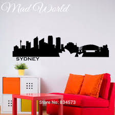 popular wall murals sydney buy cheap wall murals sydney lots from mad world sydney skyline city silhouette wall art stickers decal home diy decoration wall mural