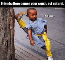 Sup Meme - friends here comes your crush act natural oturntfortom me sup