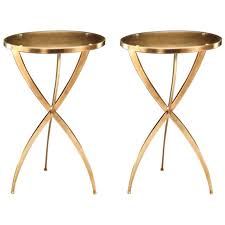 Brass Side Table Two Mid Century Modern Neoclassical Style Solid Brass