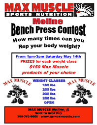Max Bench For Body Weight Max Muscle Quad Cities News April Bench Press Contest Sales