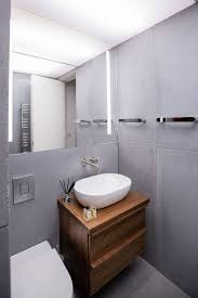 Cool Modern Bathrooms Apartments Concrete Tiles Give The Modern Bathroom A Cool And