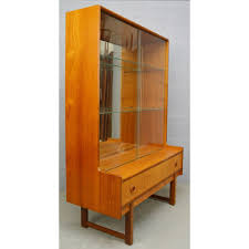 mid century teak and glass display cabinet bookcase by turnidge