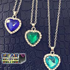 titanic blue necklace images Titanic ocean heart shape dark blue crystal necklace gear just png